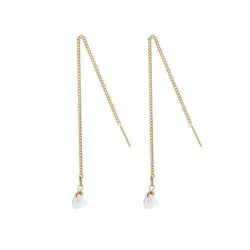 Gold Plated Hanging Earrings with Moonstone