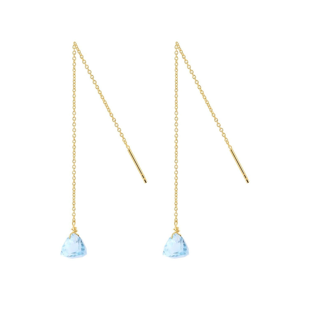 Gold Plated Silver Blue Topaz Hanging Earring