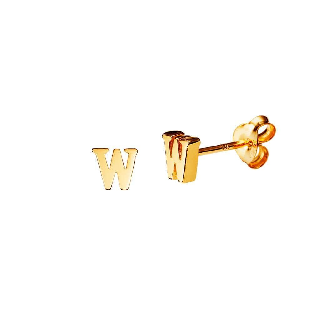 Gold Plated Stud Earring Letter w