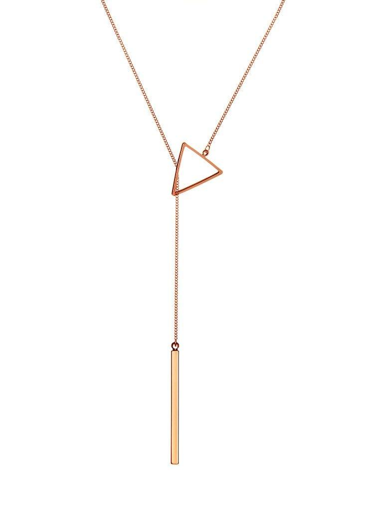 Pink Rose Gold Plated Necklace with Triangle and Rod