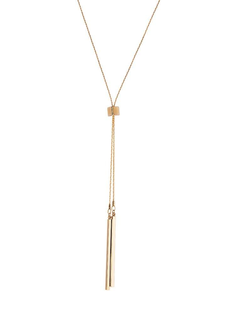 Gold Plated Necklace with Block and two Rods