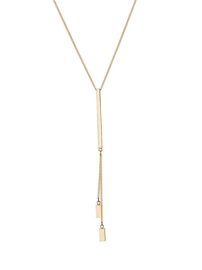 Gold Plated Necklace with 1 long Rod and 2 Small Rods