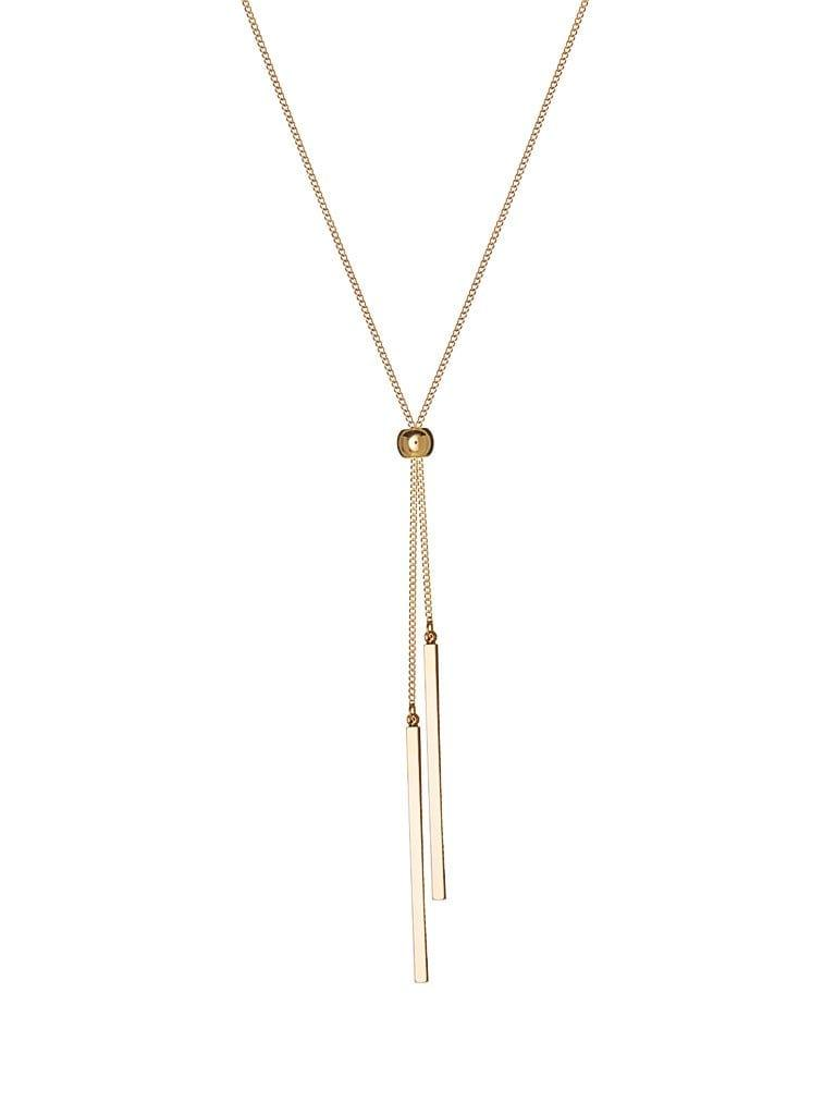 Gold Plated Necklace with Ball and 2 Rods 72CM