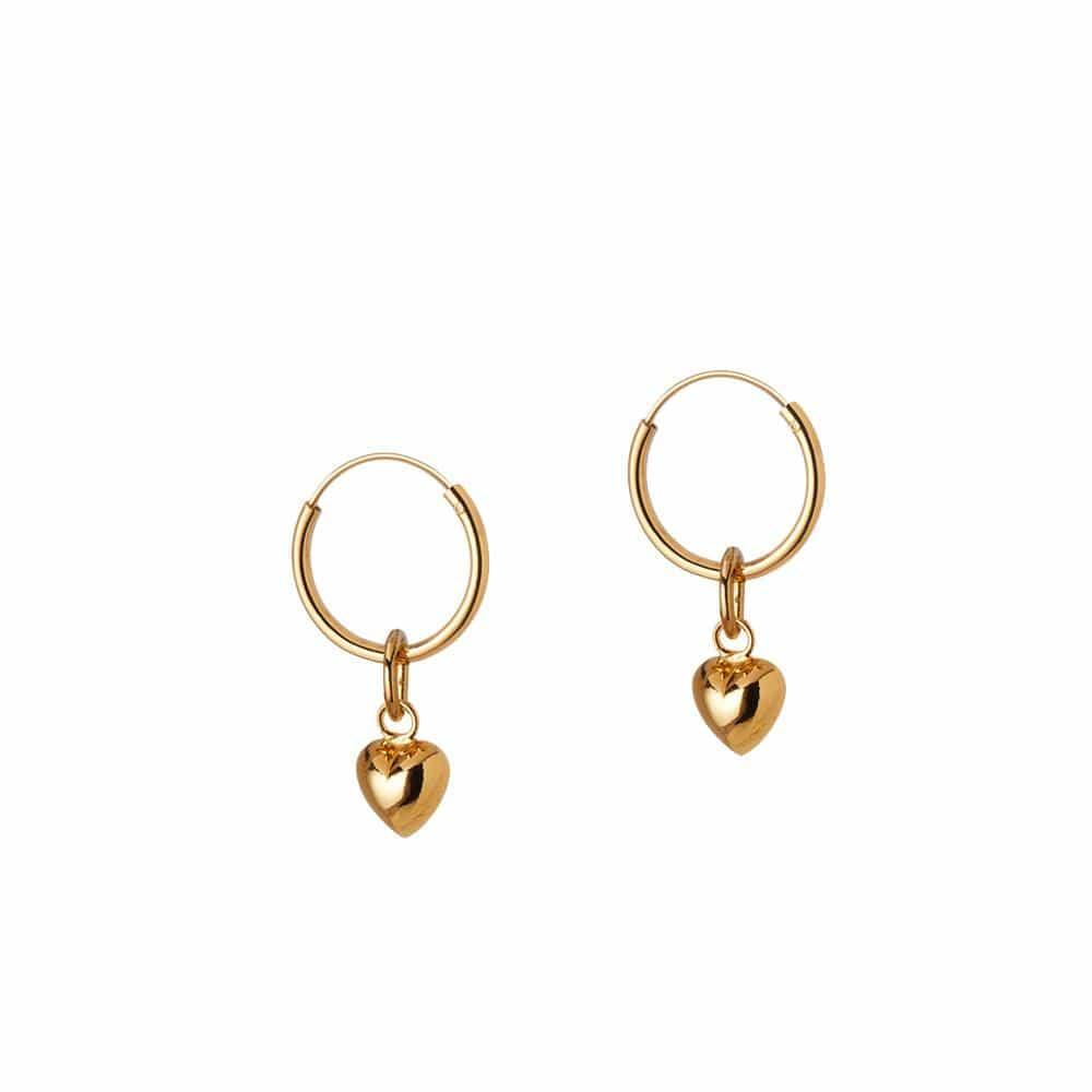 gold plated hoops with convex heart 12MM