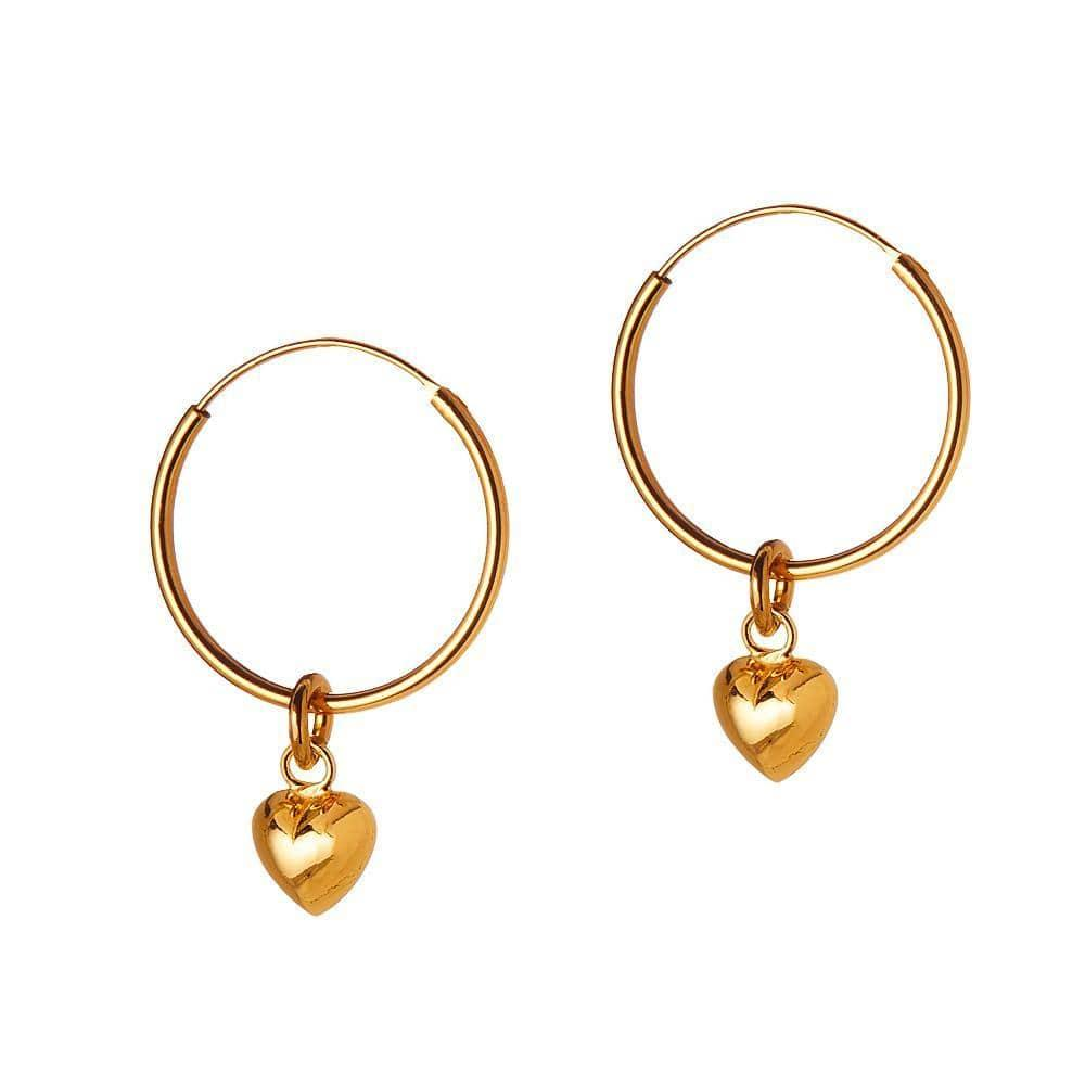 Gold Plated Hoop Earrings with Convex Heart 18 MM