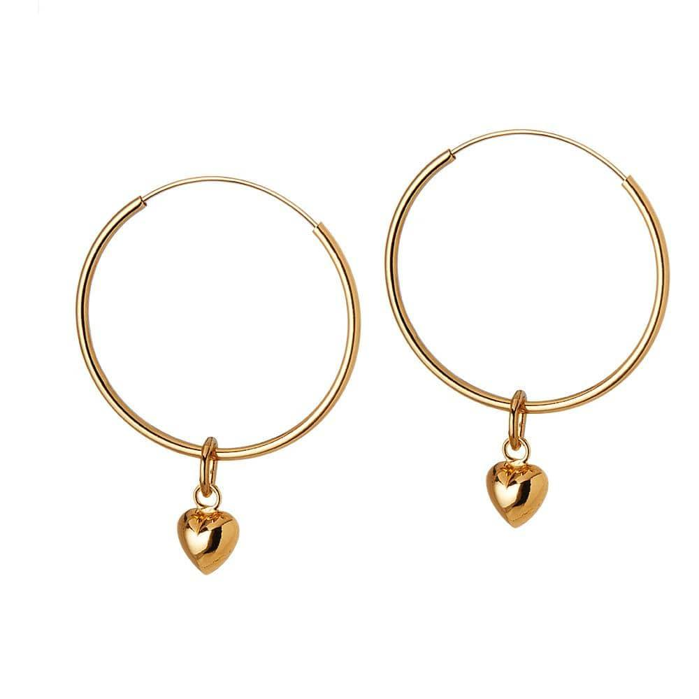 Gold Plated Hoop Earrings with Convex Heart 22 MM