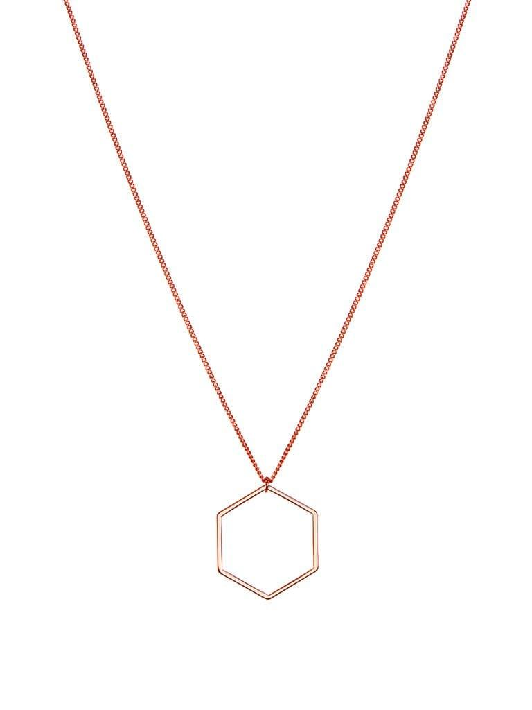 Pink Rosé Plated Necklace with Hexagon