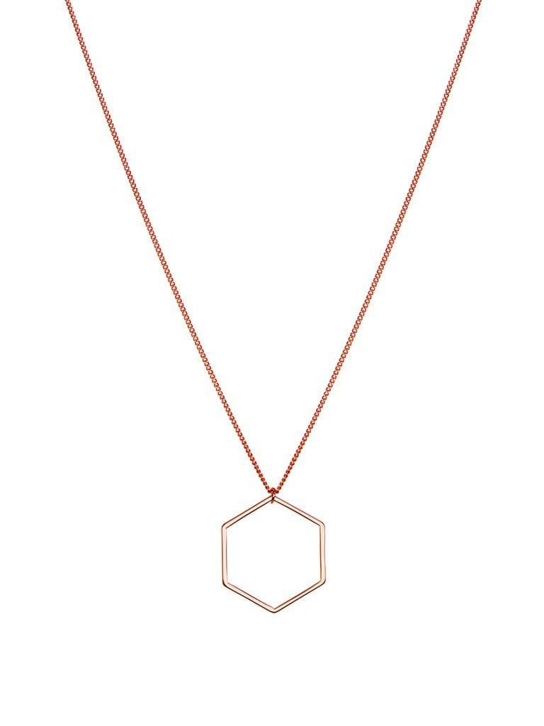Necklace rose plated 70cm with hexagon
