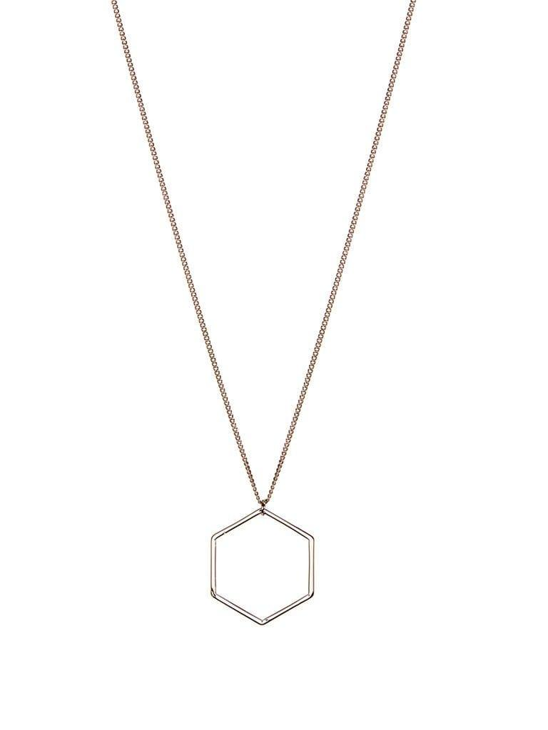 Silver plated necklace with hexagon 70cm