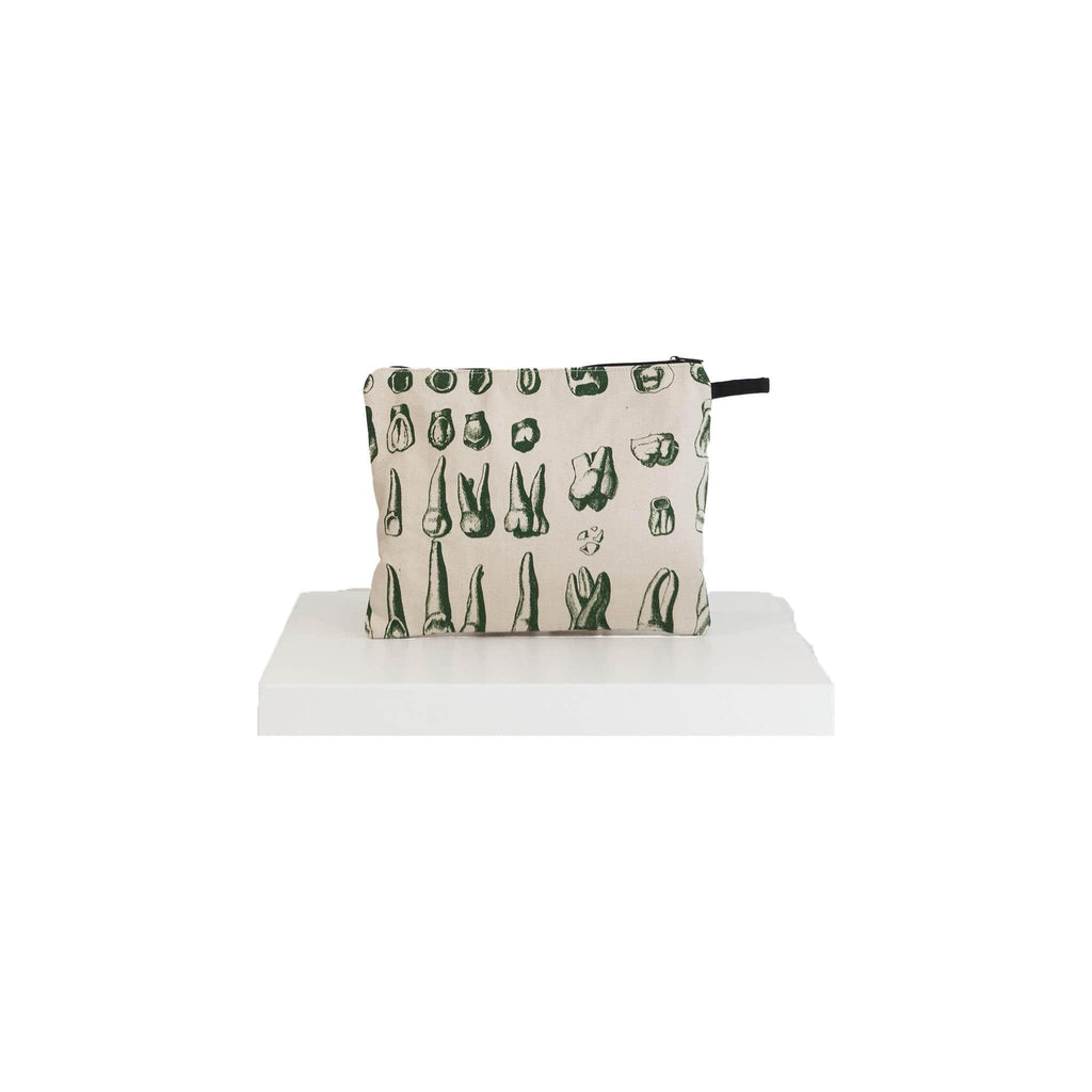canvas pouch teeth print green