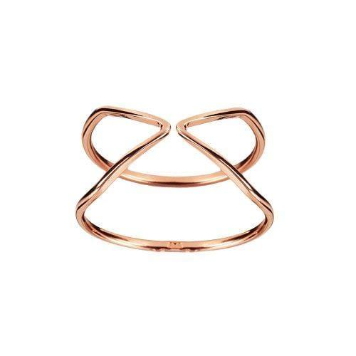 Pink Rosé Plated Double Triangle Ring