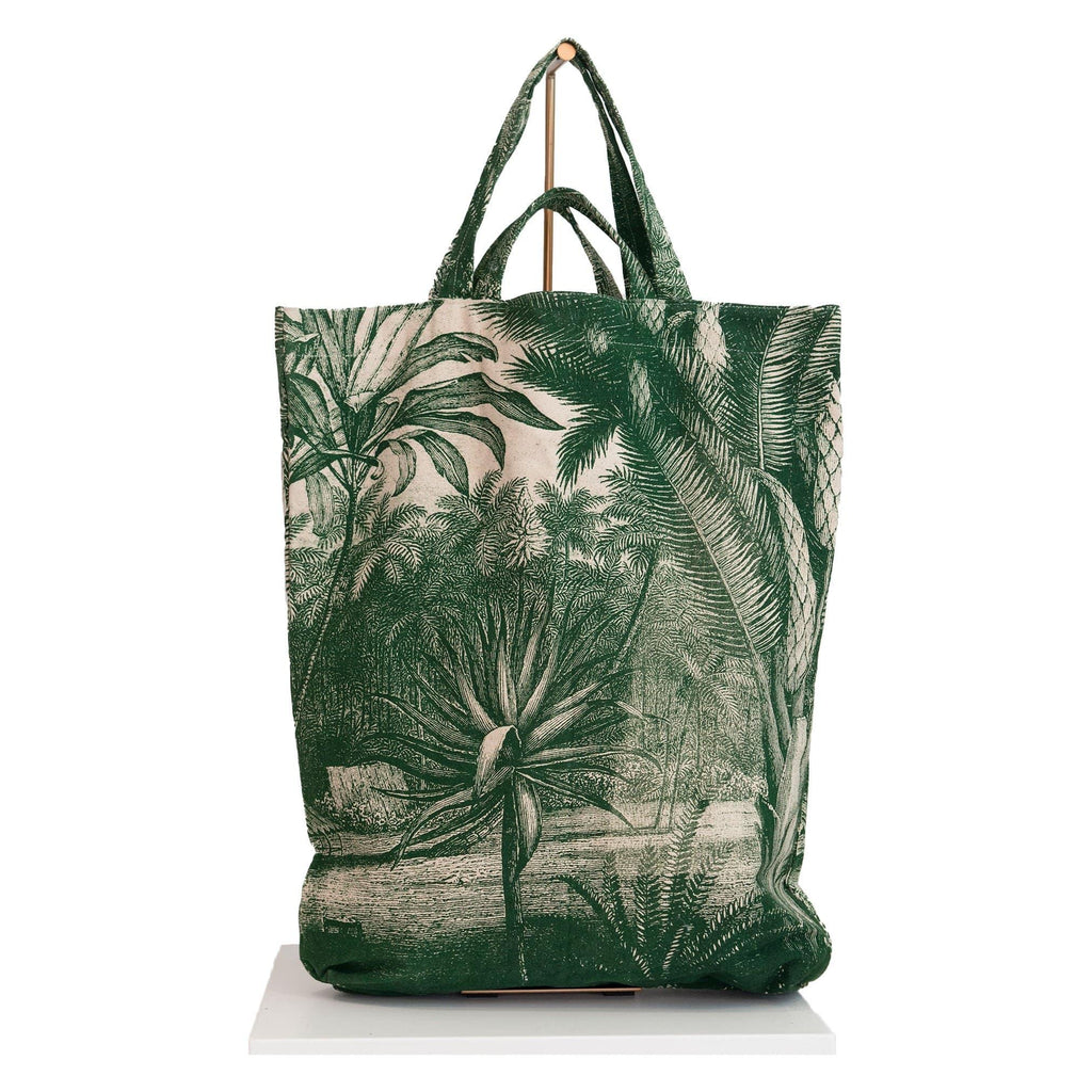 canvas tote bag jungle print green