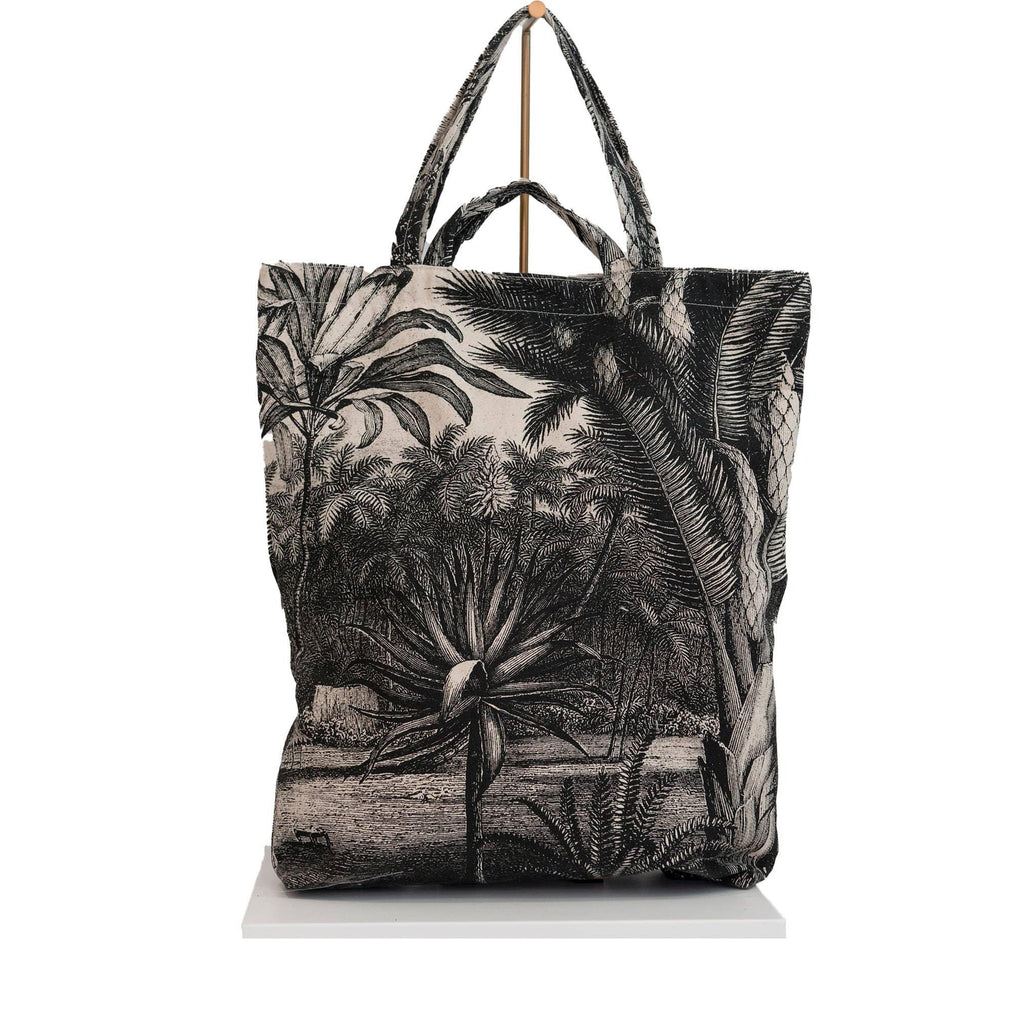 canvas tote bag jungle print black
