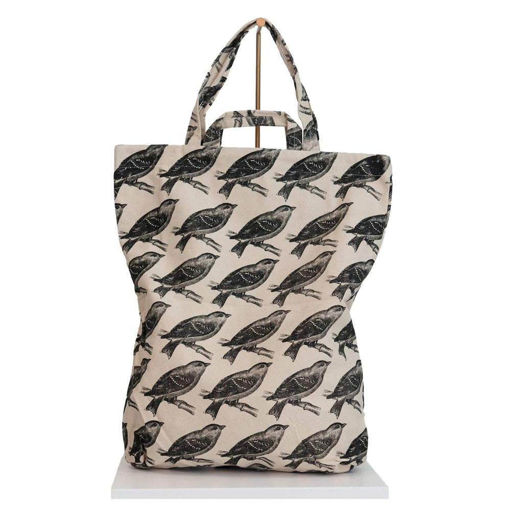 canvas tote bag black birds