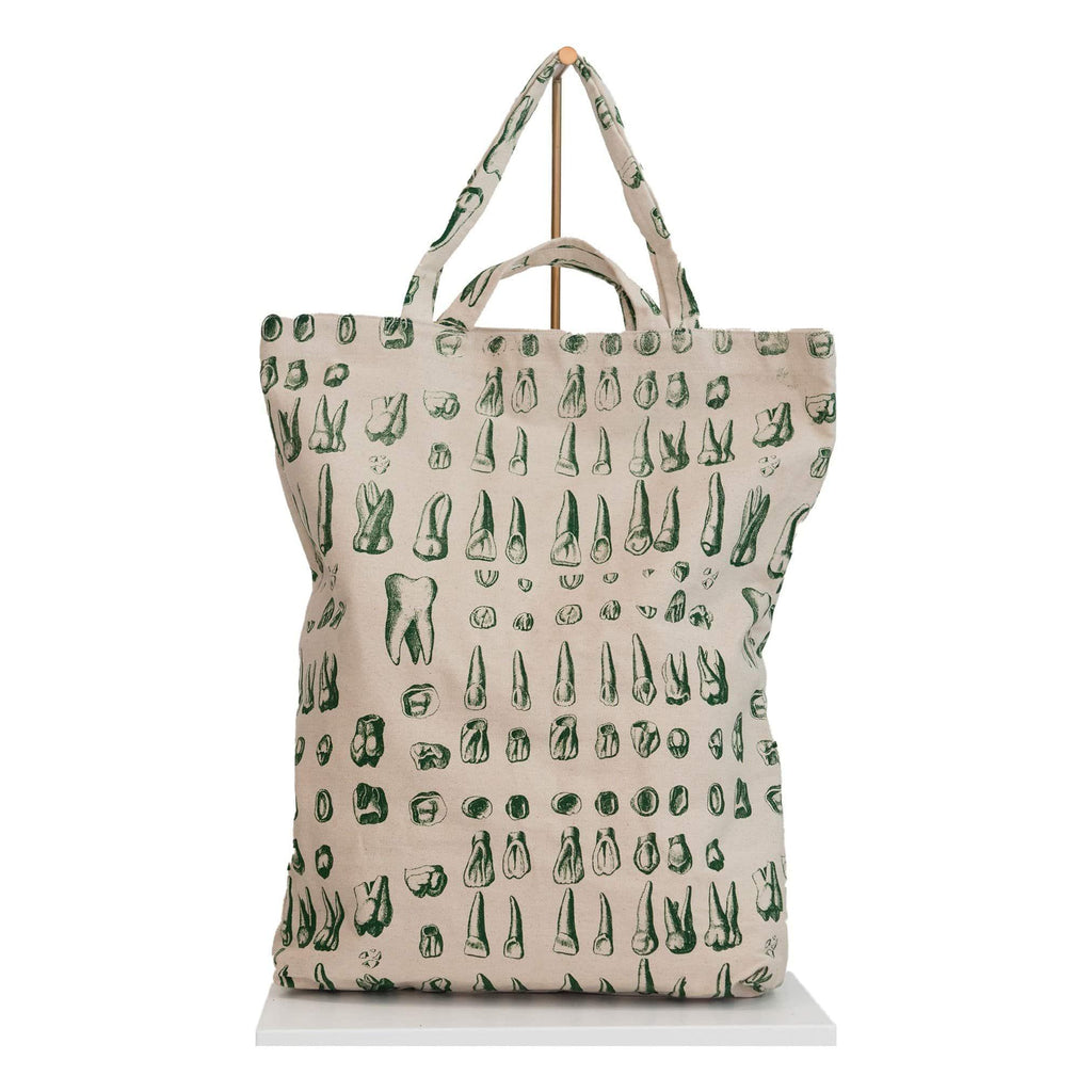 canvas tote bag green teeth