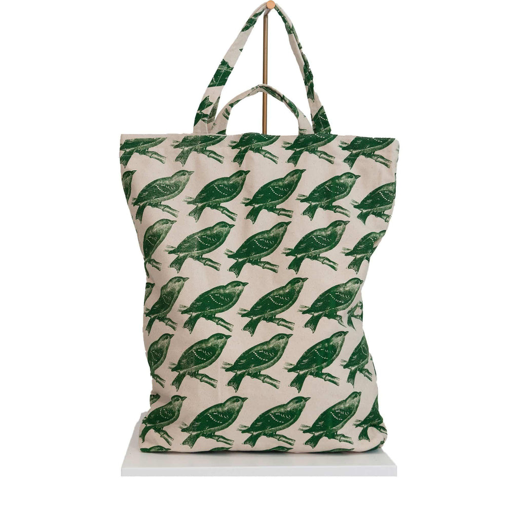 canvas tote bag green birds