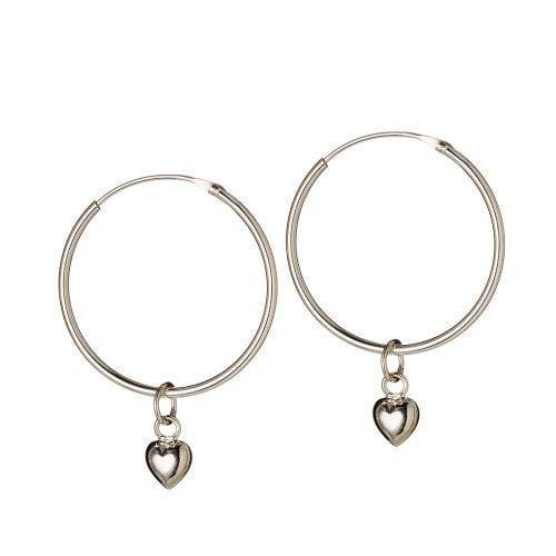Silver Hoop with Convex Heart 22 MM