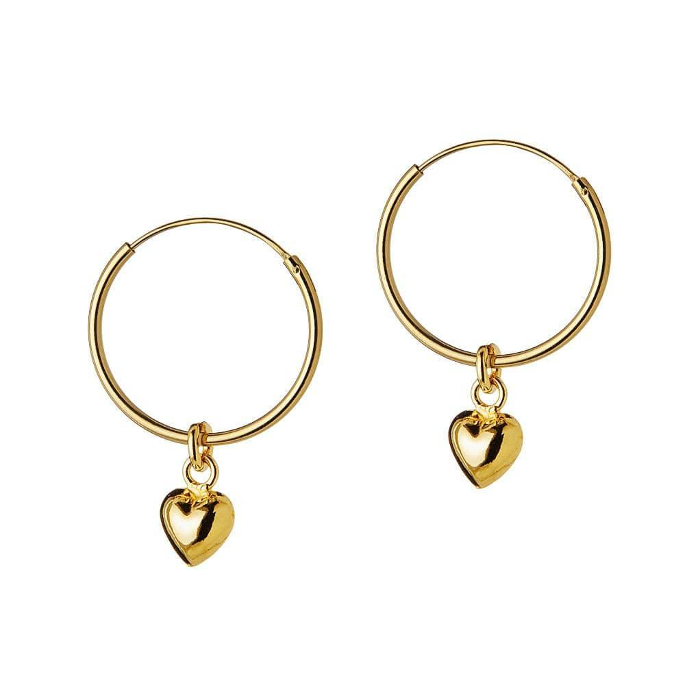 Gold Plated Hoop with Convex Heart 18 MM