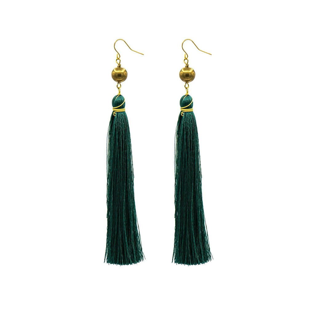 Green Brush Earrings