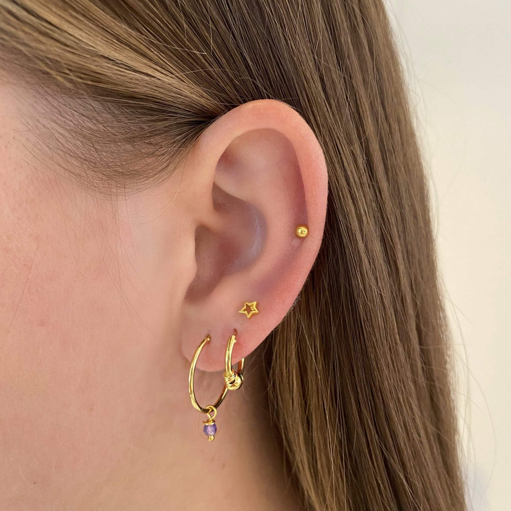 Gold Plated Smal Open Star Earstud