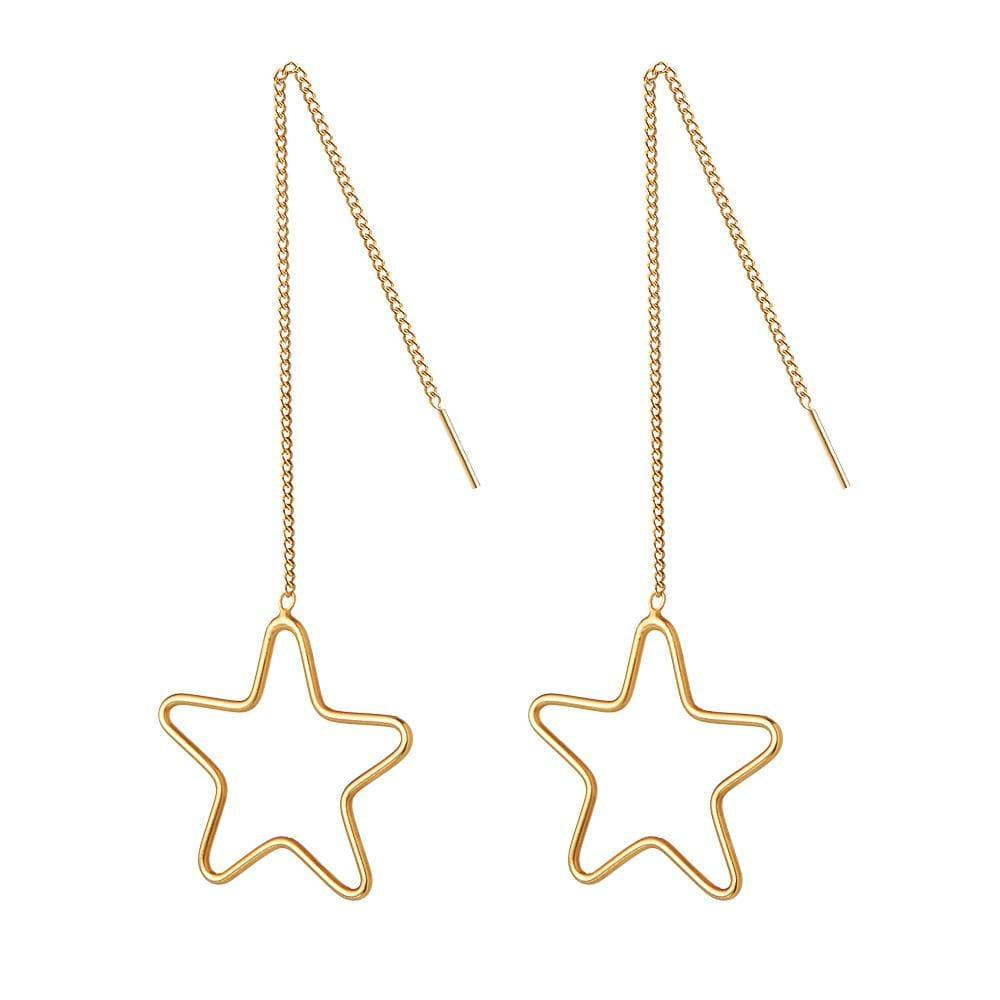 Gold Plated Silver Star Hanging Earring