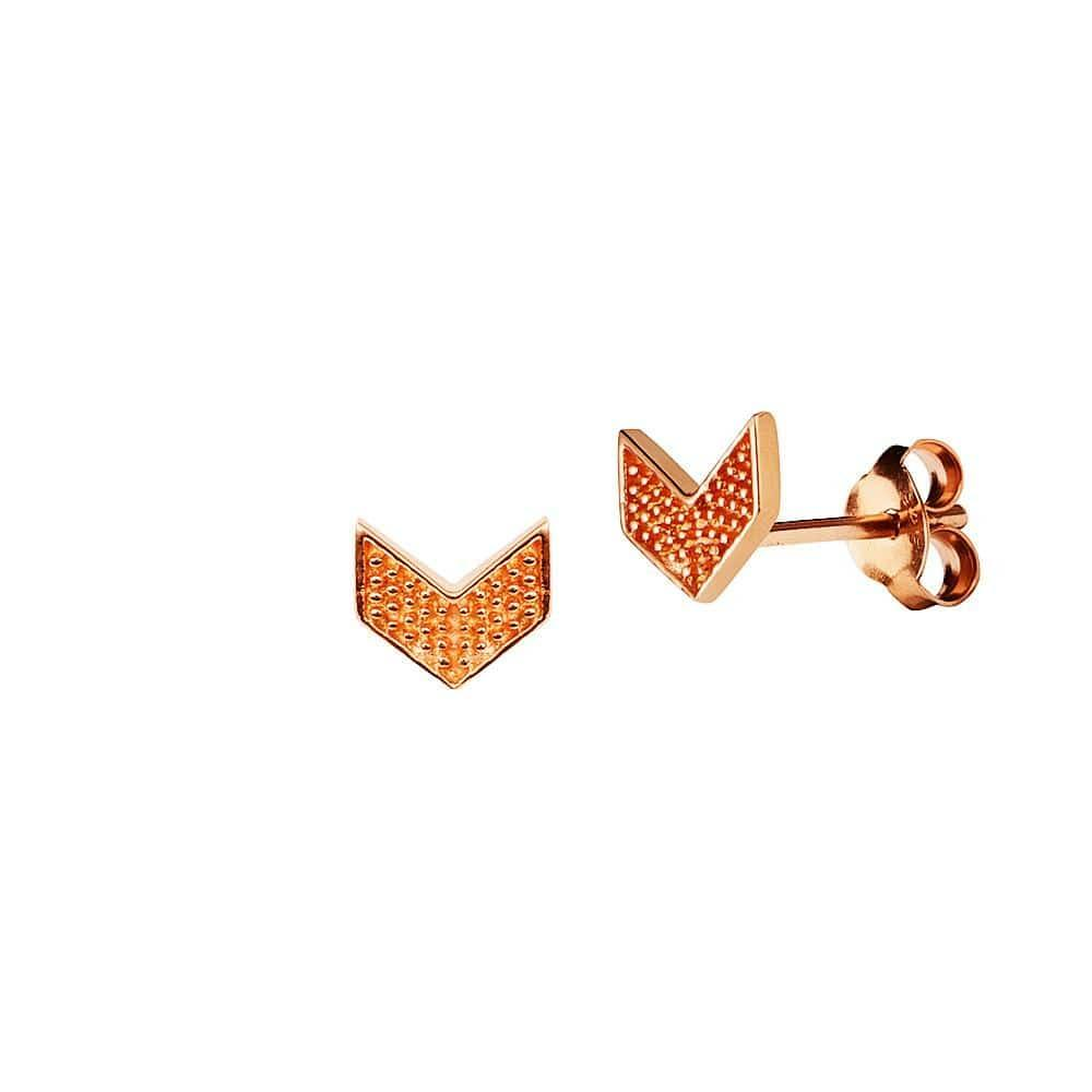Pink Rose Gold Plated Wing Stud Earrings