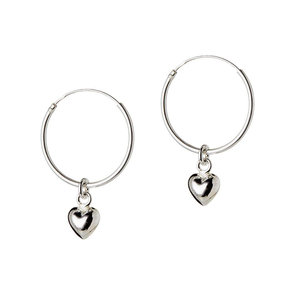 Silver Hoop with Convex Heart 18 MM