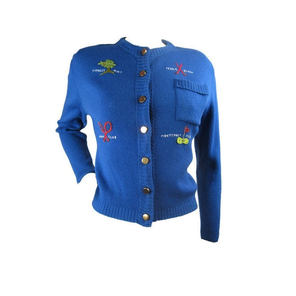 1950's Sweater Blue Country Club Novelty Vintage - regenerationvintageclothing