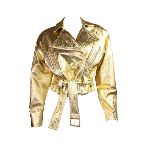 Ungaro Bomber Jacket 1990's Metallic Leather Vintage - regenerationvintageclothing