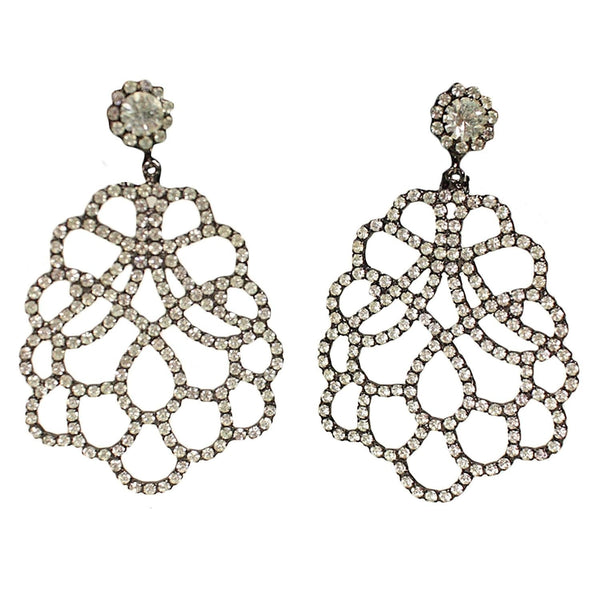 Kenneth Jay Lane Earrings Rhinestone Pavé Vintage - regenerationvintageclothing