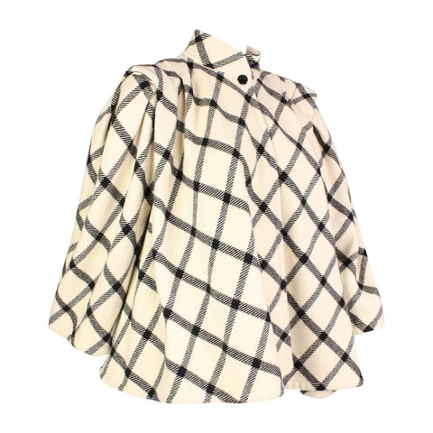 Ungaro Swing Coat 1980's Wool Check Vintage - regenerationvintageclothing