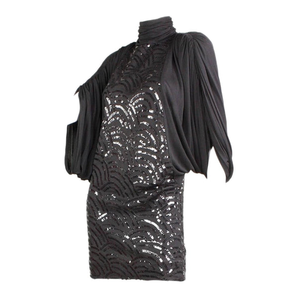 1980's Dress Black Sequined Jersey Vintage - regenerationvintageclothing