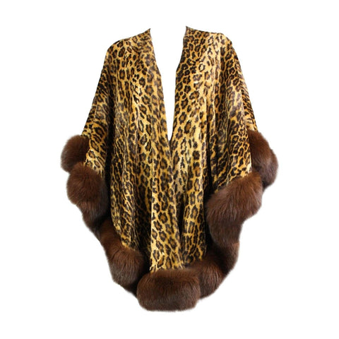 Vintage  Adrienne Landau Leopard Print Cape with Fur Trim