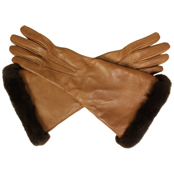 Hermès Lambskin Gauntlet Gloves with Fur Trim Vintage - regenerationvintageclothing