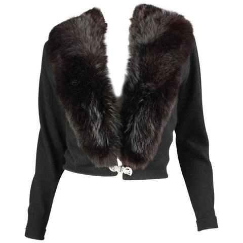 Vintage 1950's Cardigan with Luxurious Fur Collar
