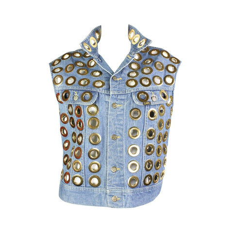 1980's Vest Fred Hayman Denim with Large Grommets Vintage - regenerationvintageclothing