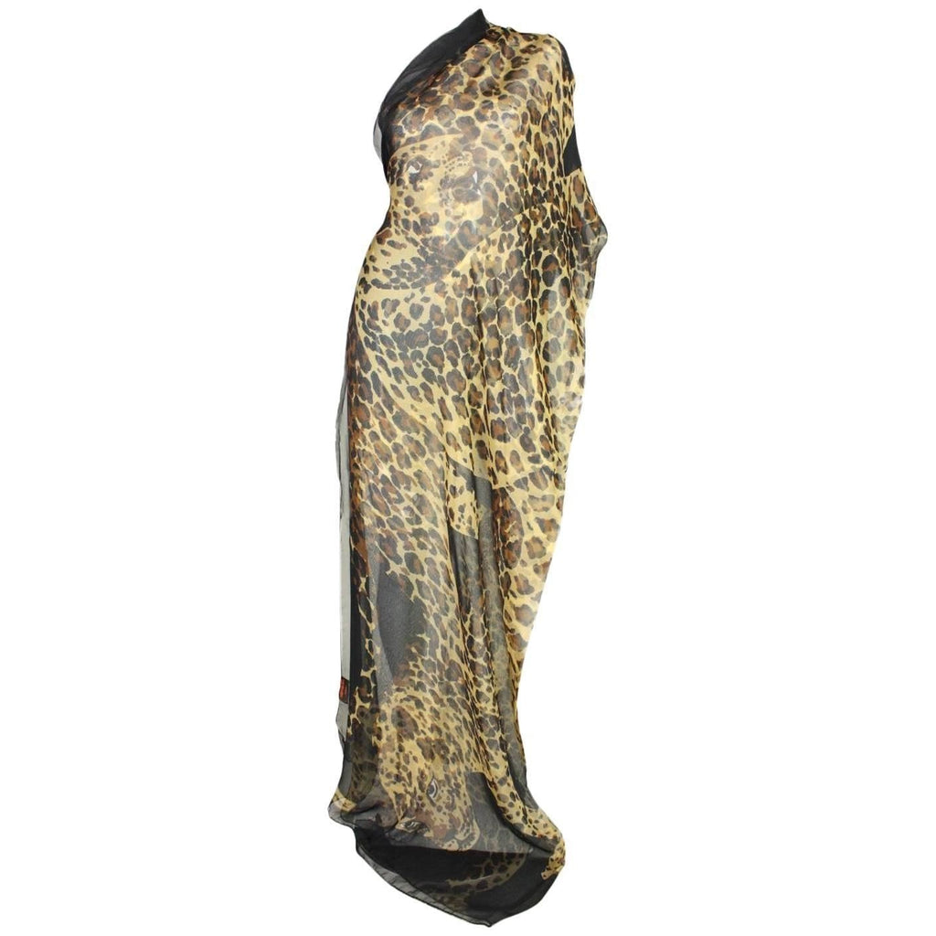 Vintage Clothing: 1980's Yves Saint Laurent Chiffon Shawl with Leopard Print