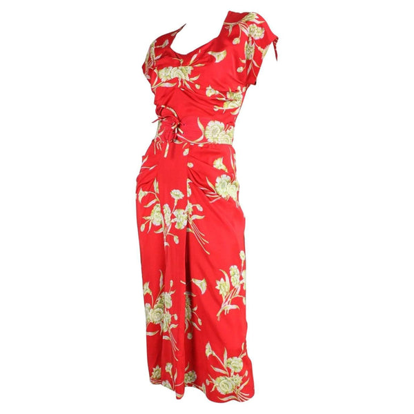 Vintage Dresses: 1940's Red Silk Floral Dress with Ruched Detailing