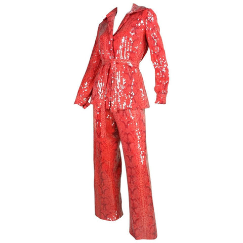 Bill Blass Ensemble 1970's Snakeskin Printed Sequined Vintage - regenerationvintageclothing