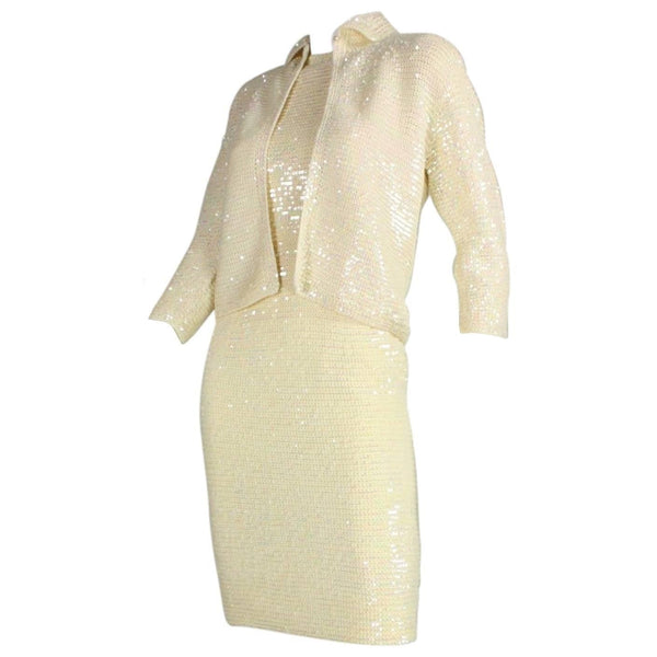 1960's Ensemble Anna Giovannozzi Sequined Knit Vintage - regenerationvintageclothing