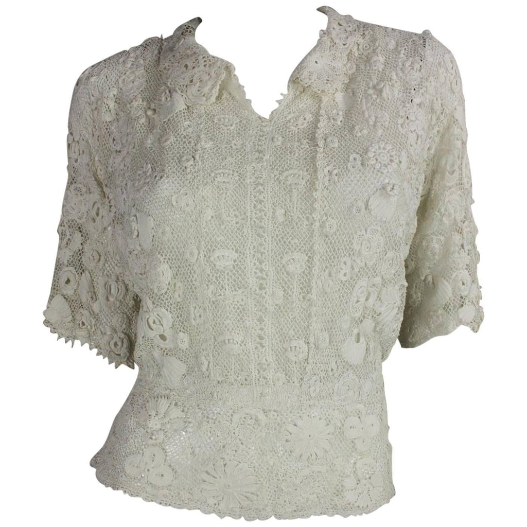 Vintage Clothing: Edwardian Irish Crochet Blouse with Floral Motif