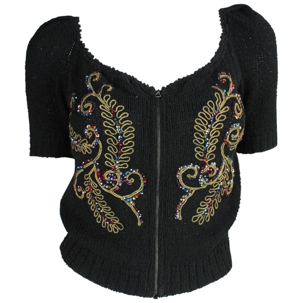 Vintage Clothing: 1940's Cardigan with Soutache & Sequin Embellishment