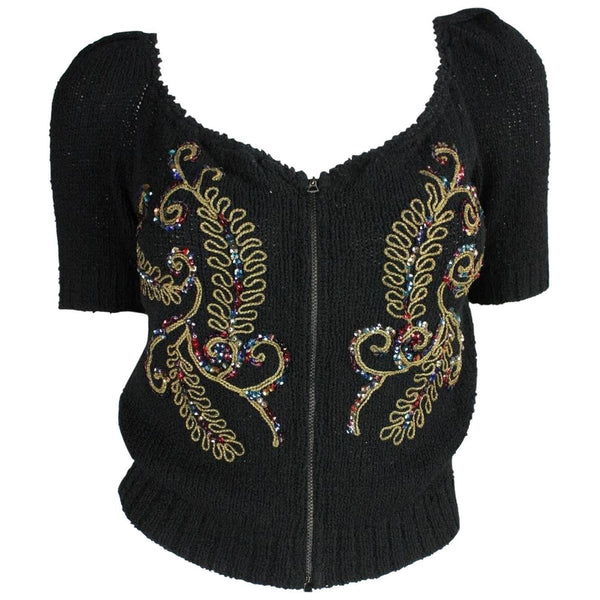 Vintage 1940's Cardigan with Soutache & Sequin Embellishment