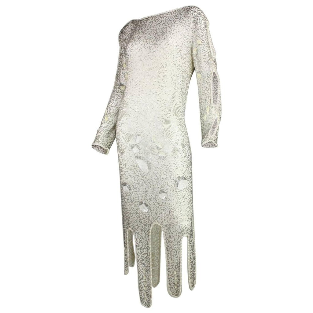 Vintage Clothing: 1980's Allover Beaded Dress with Cowl Back