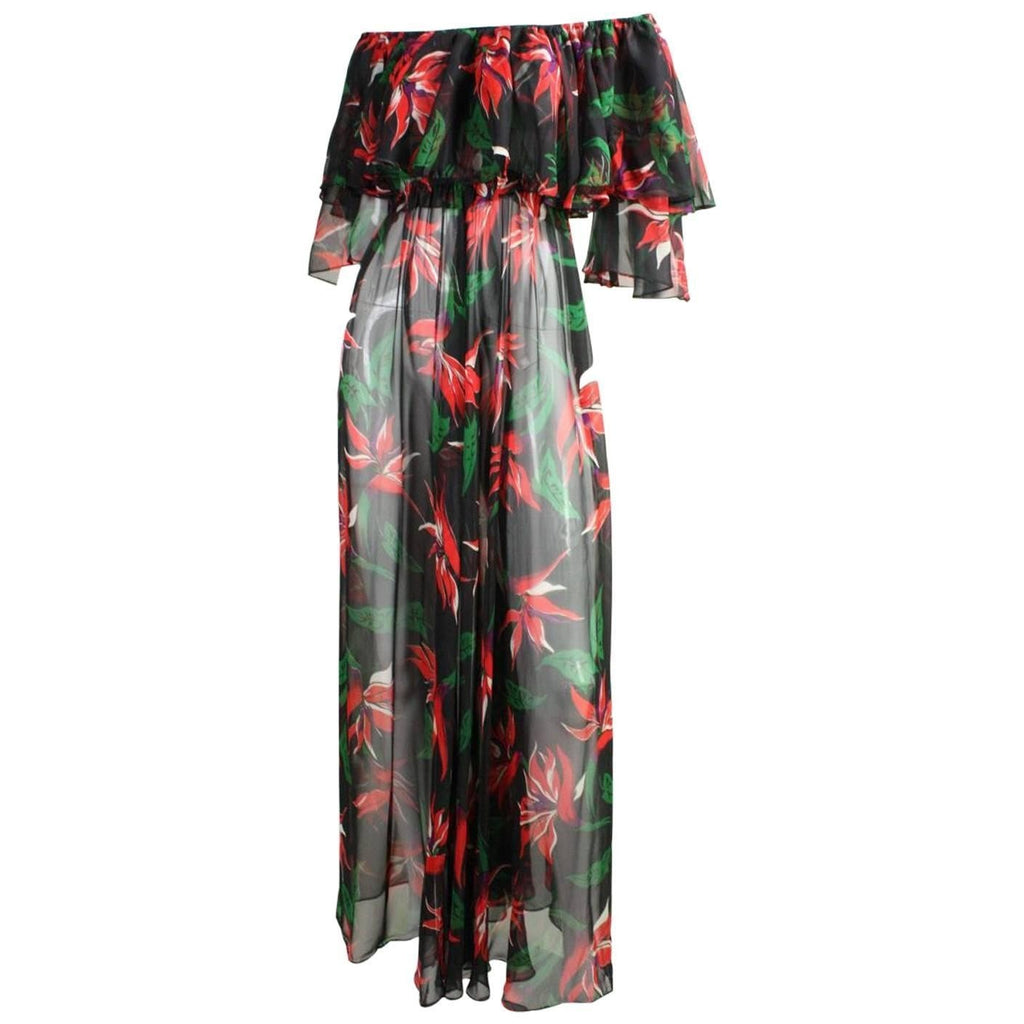 Vintage Clothing: 1970's Saks Fifth Avenue Chiffon Floral Maxi Dress