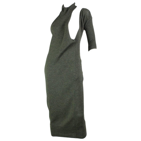 Yohji Yamamoto Dress Asymmetrical Wool Knit Vintage - regenerationvintageclothing