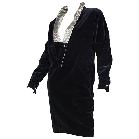 Versace Cocktail Dress 1980's Black Velvet Vintage - regenerationvintageclothing