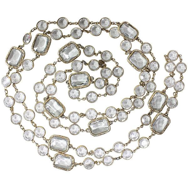 Vintage Clothing: Chanel Clear Crystal Sautoir Necklace Vintage Clothing: 1981