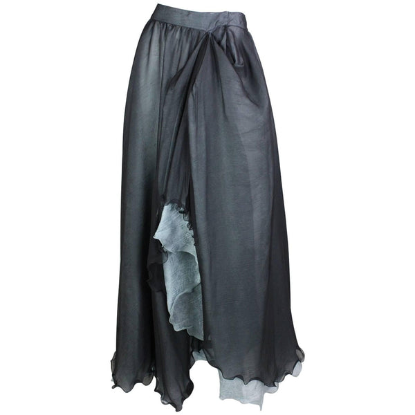 Giorgio Armani Skirt Double-Layered Silk Full Vintage - regenerationvintageclothing