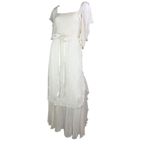 Tan Giudicelli Gown 1970's Ethereal Silk & Lace Vintage - regenerationvintageclothing